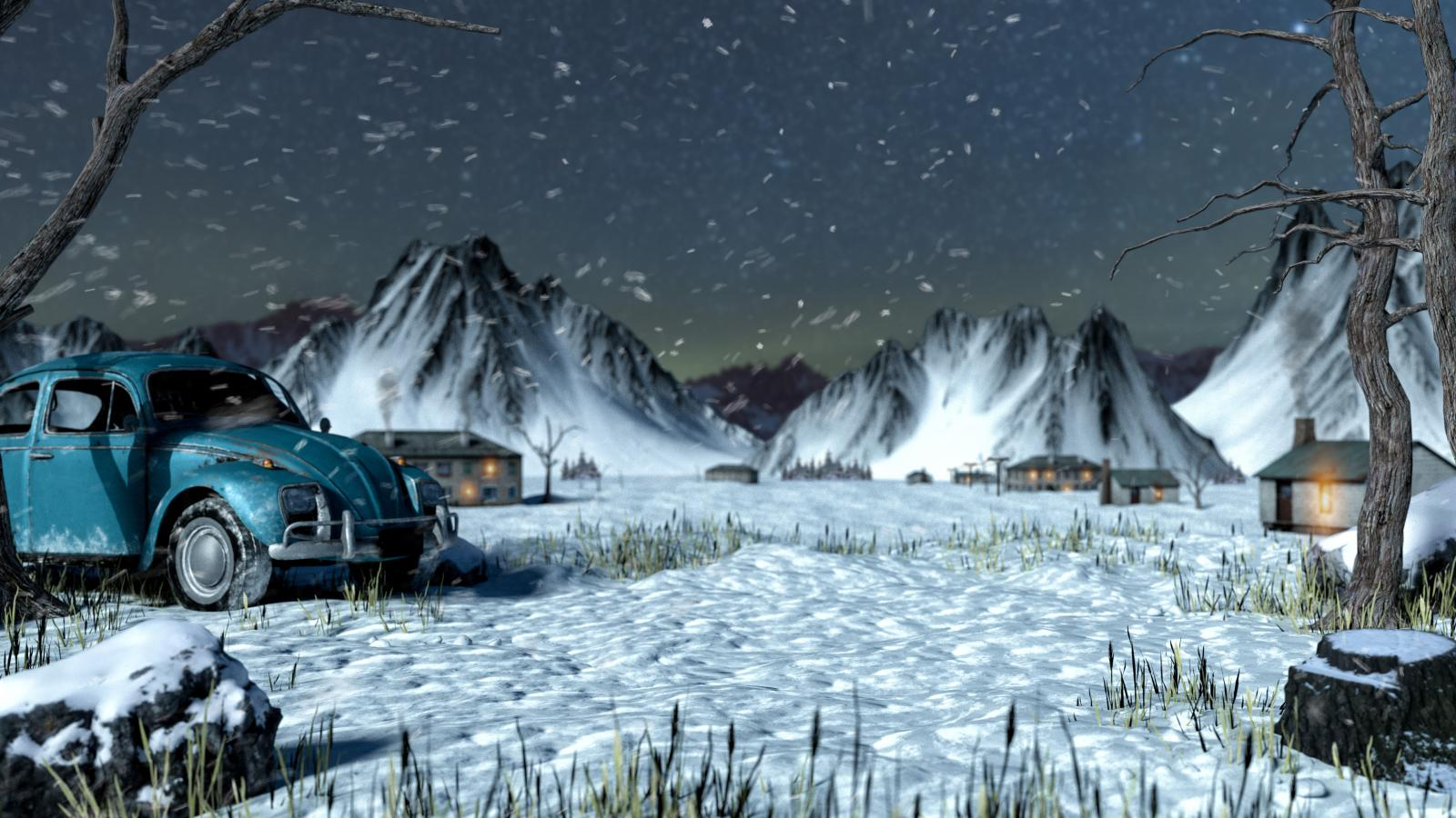 《絕地求生》高清「雪景」大廳桌布下載,福斯金龜車意外曝光 🚗